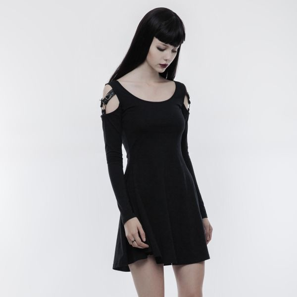 Cold-Shoulder Gothic Minikleid mit Schnallen
