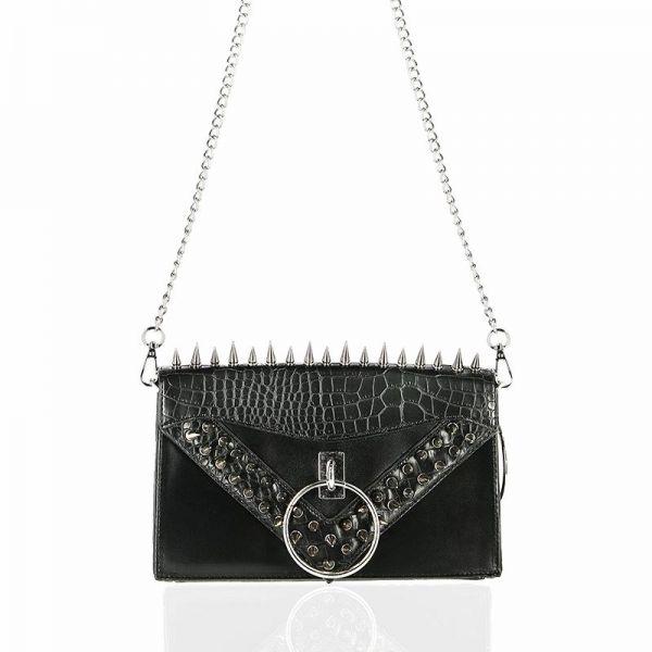 Handtasche im Fetisch Leder-Look mit Spikes und O-Ring
