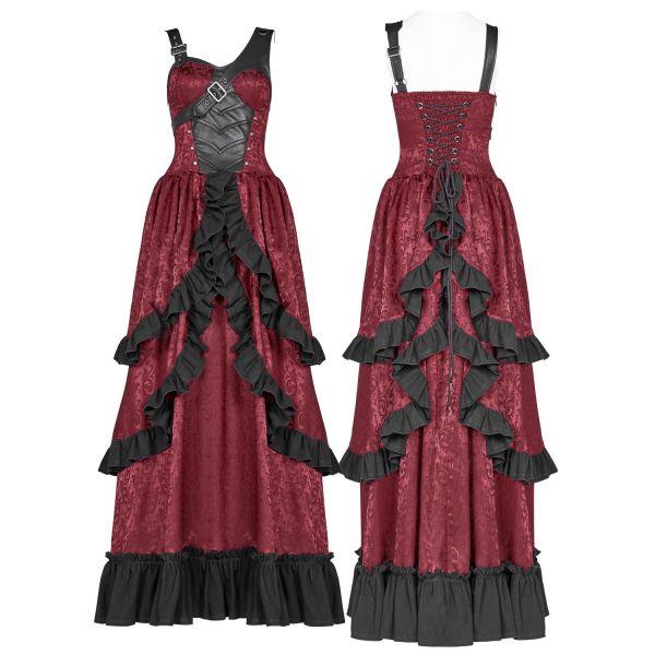 Steampunk Rüschenkleid im Saloon Girl Jacquard Look