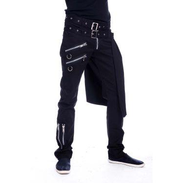 Gothic Hose mit Zippern und abnehmbarer Kilt Schürze