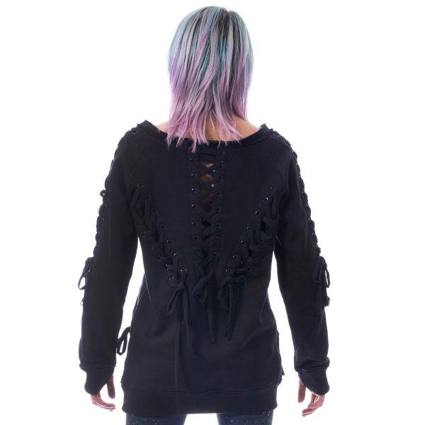 Daily Goth Pullover mit Schnürungen und Daumenlöchern