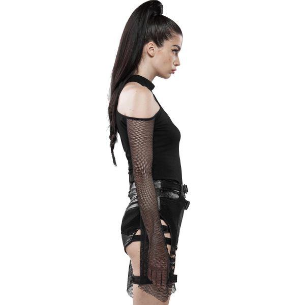 Punk Cold-Shoulder Top mit Halsband und Netzärmeln