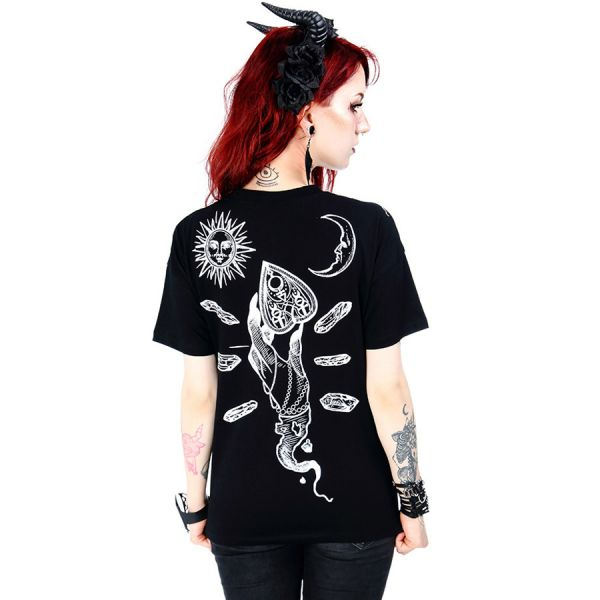 T-Shirt im Ouija Look mit Cut-Out im Halsband Look