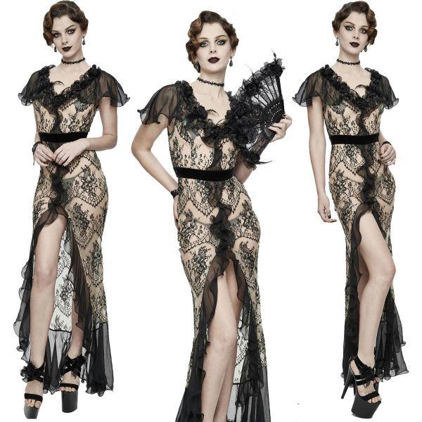 Sexy Kleid mit Schlitz in transparentem Nude Diva Look
