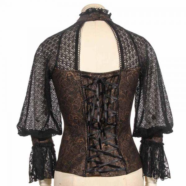 Steampunk Bluse mit Spitzenärmeln und Rüschenkragen