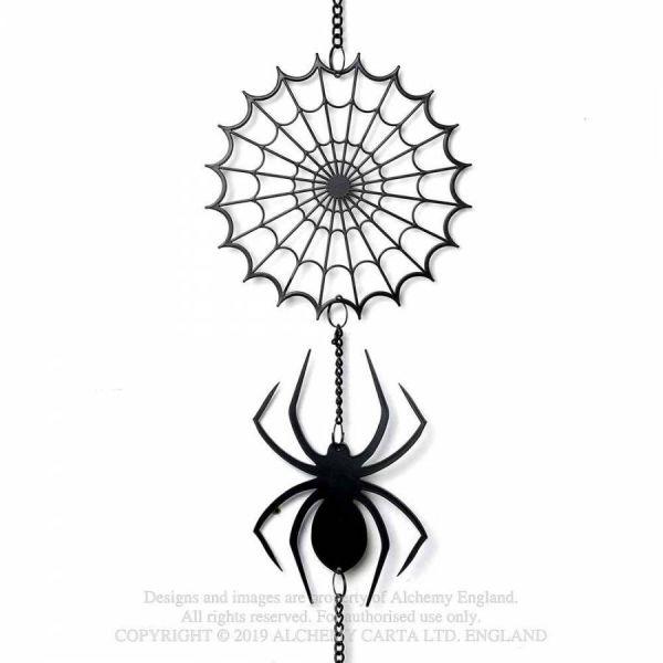 Windspiel schwarze Witwe mit Netz