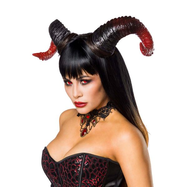 Halloween Kostüm Devil Lady mit Corsage und Hörnern