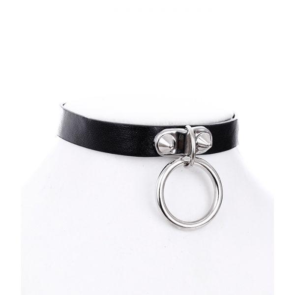 O-Ring Halsband in Lederoptik