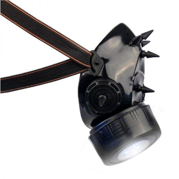 Cybergoth Gasmaske mit UV Spikes und LED Licht