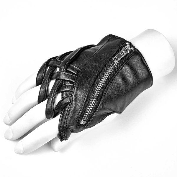 Kunstleder Handschuhe in Wickeloptik mit Zipper