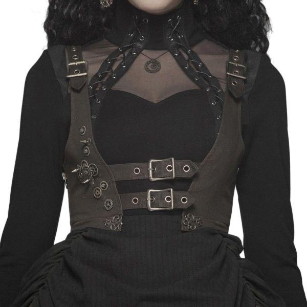 Unterbrust Rüschen Minikleid im Steampunk Lolita Style