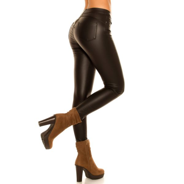 Thermo Treggings im sexy Leder-Look mit Zipper