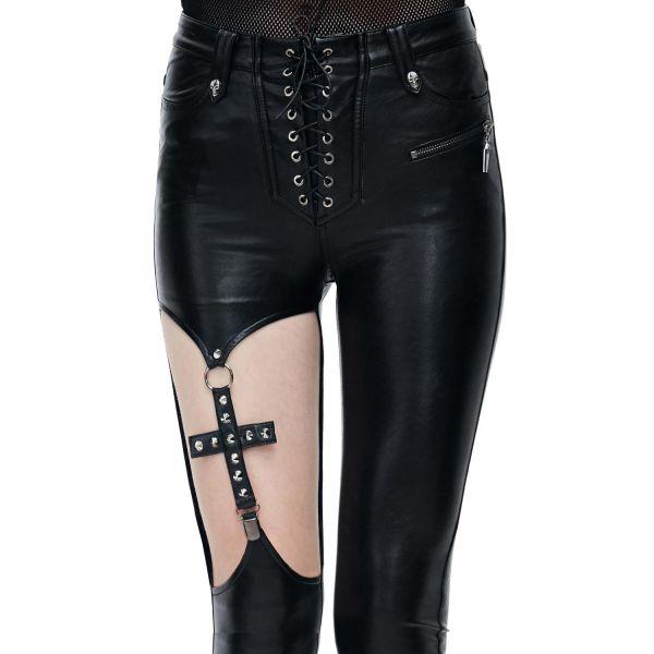 Skinny Kunstlederhose mit Cut-Out und Kreuz im Straps-Look