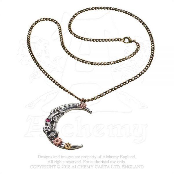 Steampunk Halskette mit Sichelmond - Lunatron