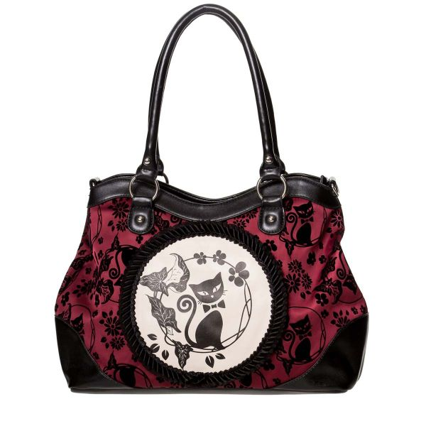 Gothic Lolita Handtasche bordeaux-schwarz - Cameo Cat