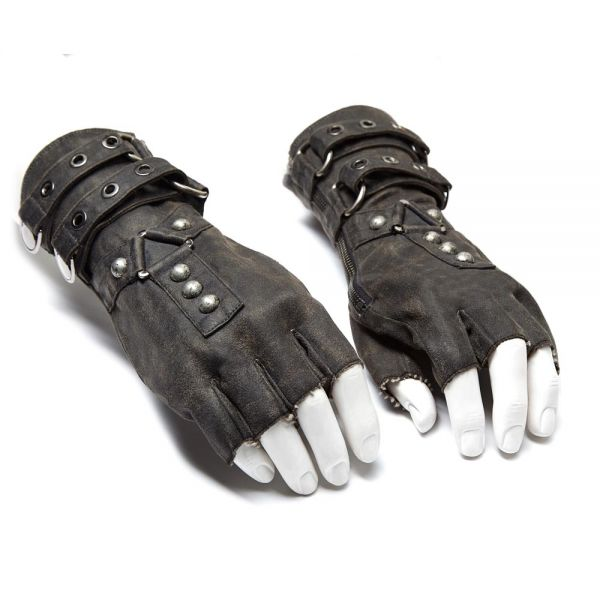 Post Apocalyptic Handschuhe im destroyed Leder-Look