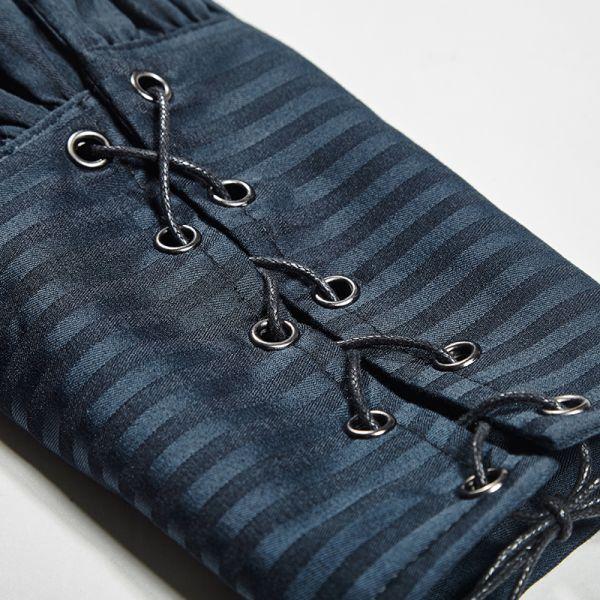 Nadelstreifen Hemd blau mit geschnürten Arm Manschetten