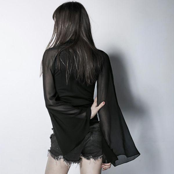 Schwarzes Shirt mit Chiffon Ärmeln und Bondage Kragen