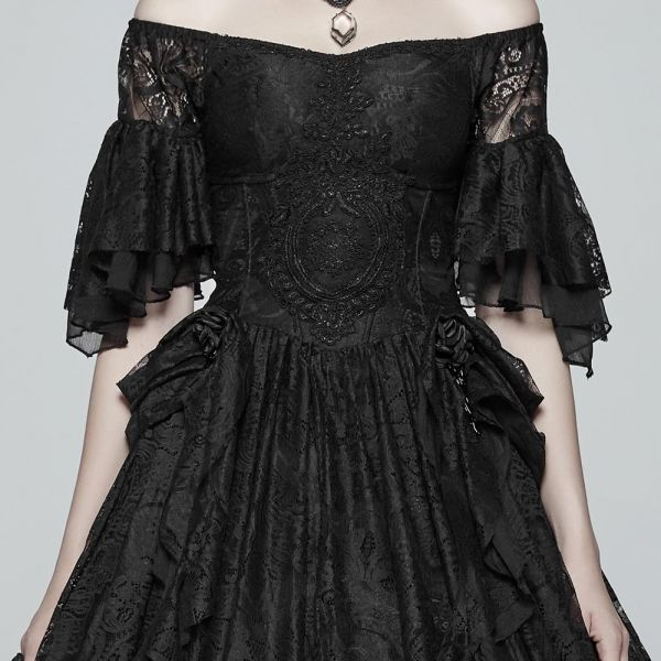 Viktorianisches schwarzes Brautkleid schulterfrei