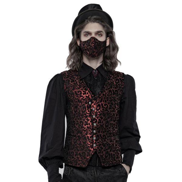 Viktorianische Gesichtsmaske mit rotem Jacquard Muster