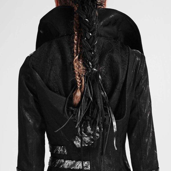 Mantel mit grossem Kragen und abnehmbarer Schleppe