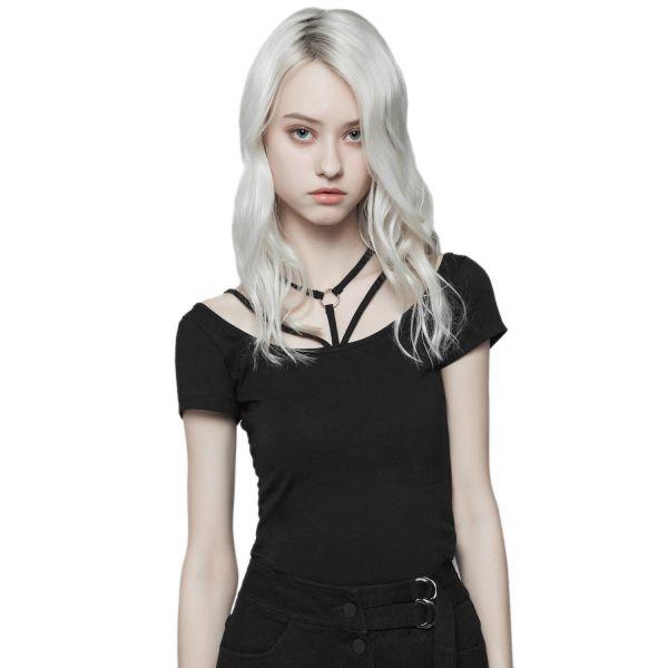 T-Shirt mit Dekollete in Schnüroptik mit O-Ring