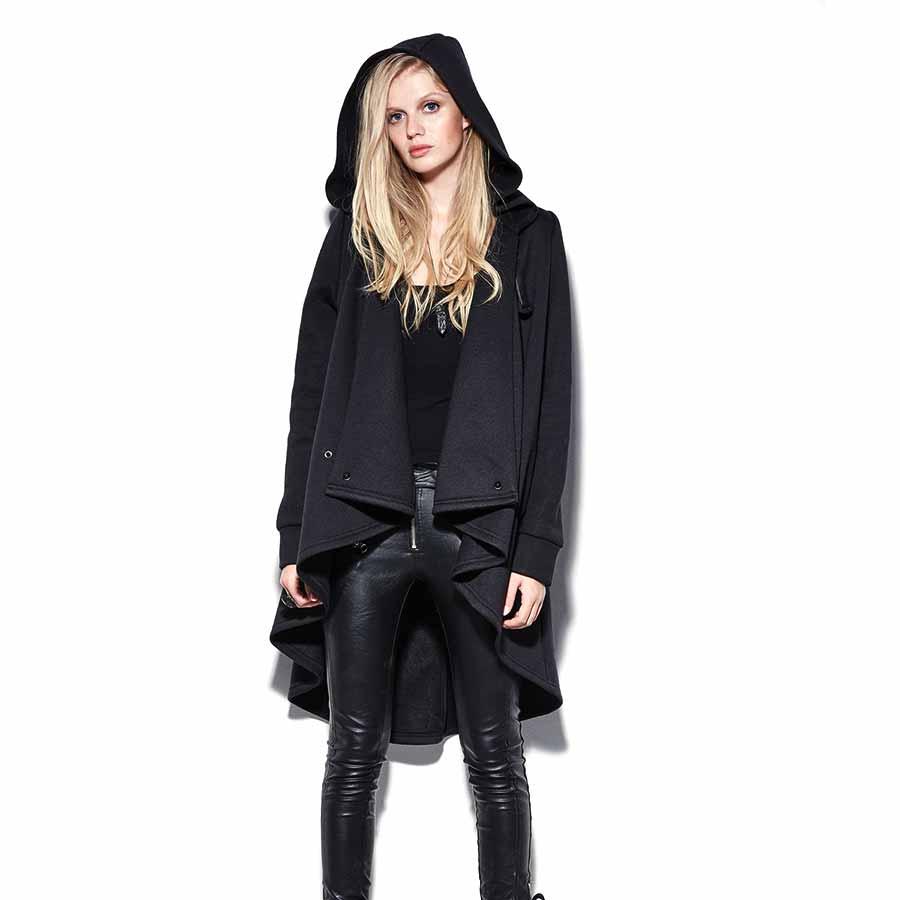 schwarzer cape mantel mit grosser kapuze voodoomaniacs. Black Bedroom Furniture Sets. Home Design Ideas