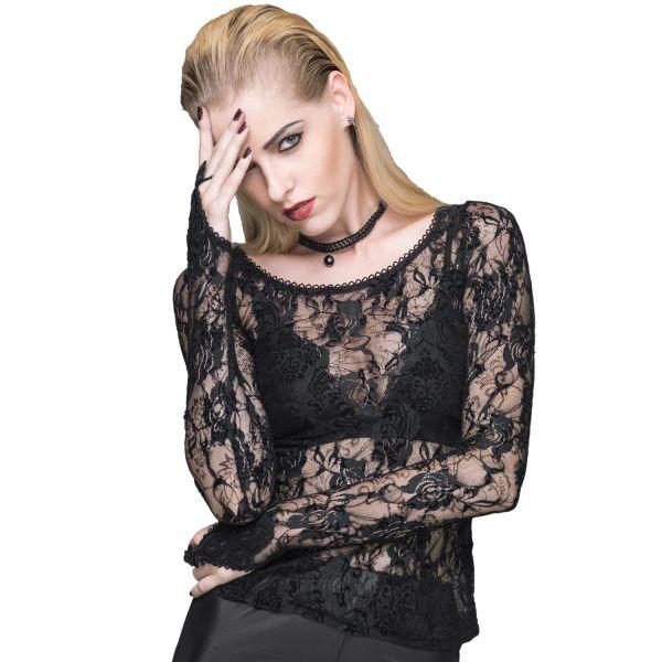 Dark Romantic Shirt aus Spitze mit Fingerschlaufen