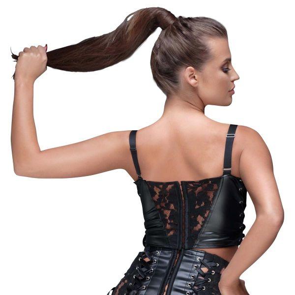 Sexy Longline BH Top im Leder-Look mit Spitze