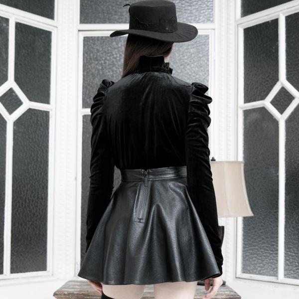 Dark Romantic Samtshirt mit plissierten Ärmeln
