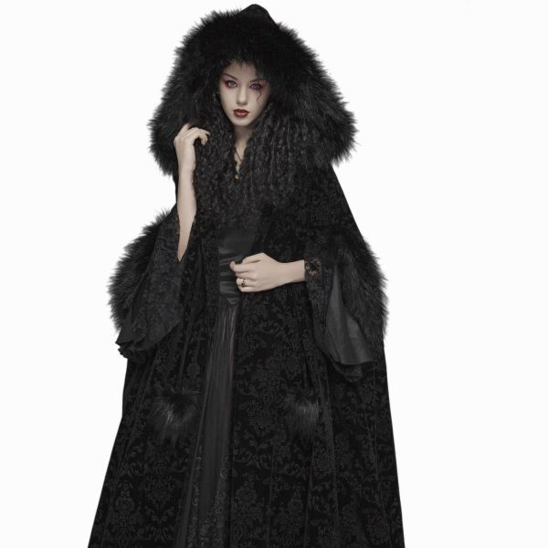 Dark Baroness Samt Cape mit Kapuze und Teddy-Fell