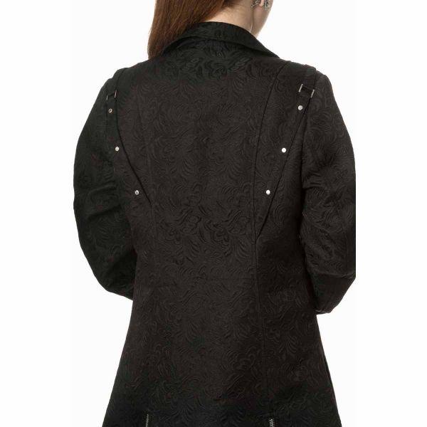 Mantel im Westen-Look mit Brokatmuster und Schnürungen