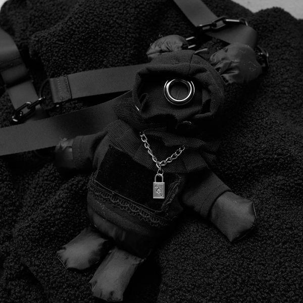 Oversize Teddy-Jacke mit Harlekin Kapuze und Häschen
