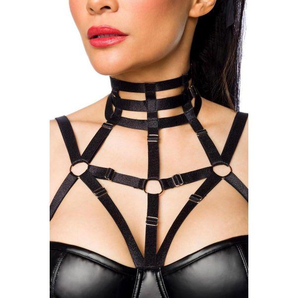 Clubwear Wetlook Glockenkleid im Harness Cage Style