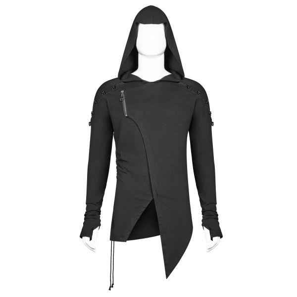 Gothic Style Hoodie mit Daumenlöchern und Skull Nieten