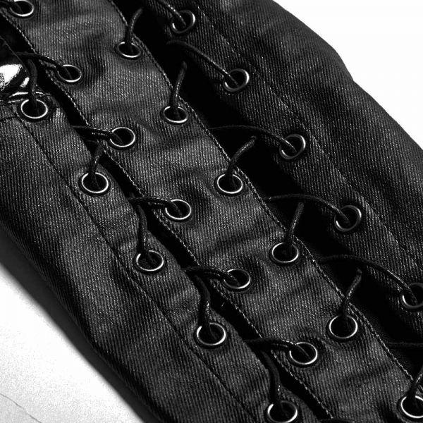 Hose in Lederoptik mit offenen Seitenschnürungen