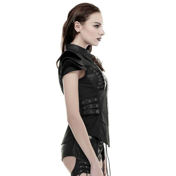 Warrior Girl Bluse mit Schnürungen und Lederimitat