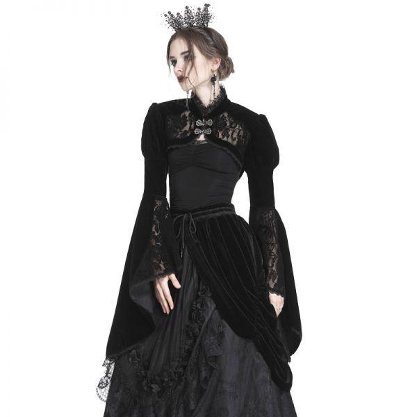 Dark Romantic Samt Bolero mit Glockenärmeln und Spitze