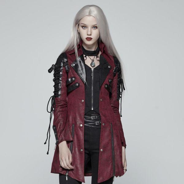 Kunstleder Mantel in Lederoptik mit Schnürungen rot-schwarz