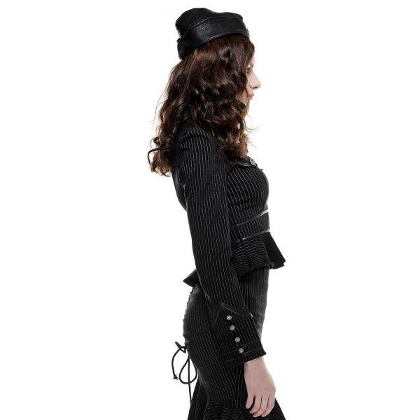 Nadelstreifen Bluse im Uniform Look mit Schößchen