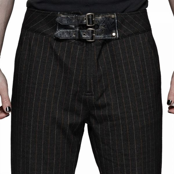Steampunk Hose mit Nadelstreifen und Schnallen am Bund