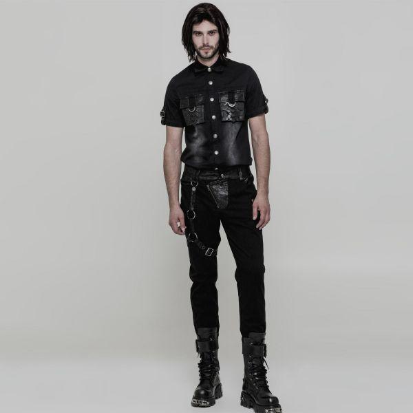 Slim Fit Jeans mit Beinholster im Nadelstreifen Look