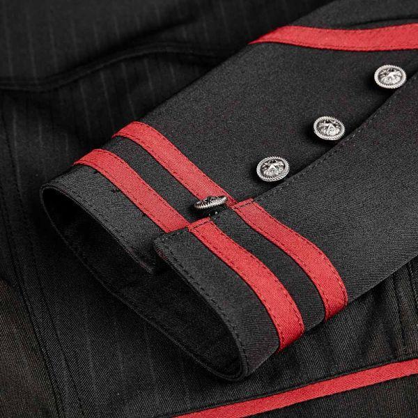 Bluse im Uniform Look mit Schößchen und hohem Kragen