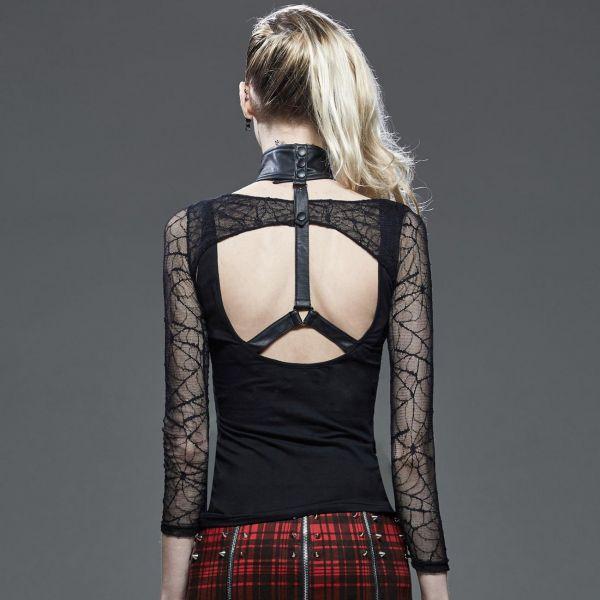 Gothic Shirt im Bondage Look mit Spinnennetz Bolero