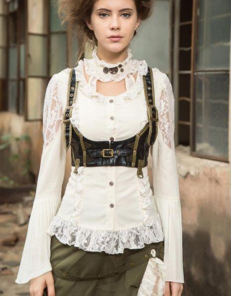 Weisse Bluse mit Spitze und Rüschen im Steampunk Look
