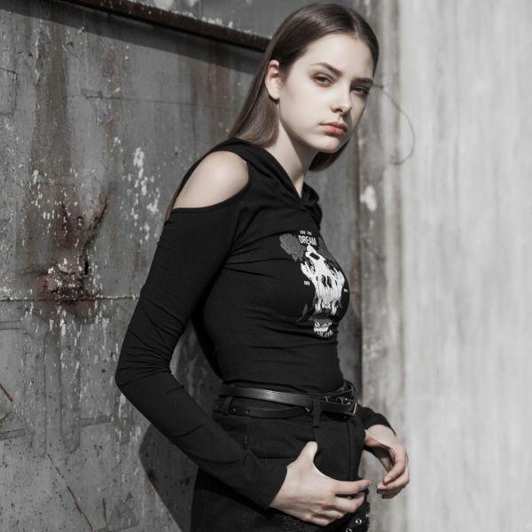 Skull & Roses Shirt mit Zipfelkapuze und freiem Rücken