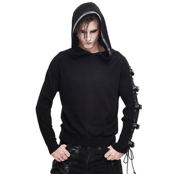 Hoodie im Rock & Metal Style mit Schnallen und Nieten