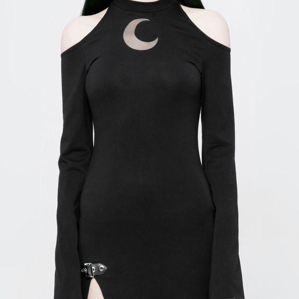 Cold Shoulder Maxikleid mit Schlitzen im Mystic Style
