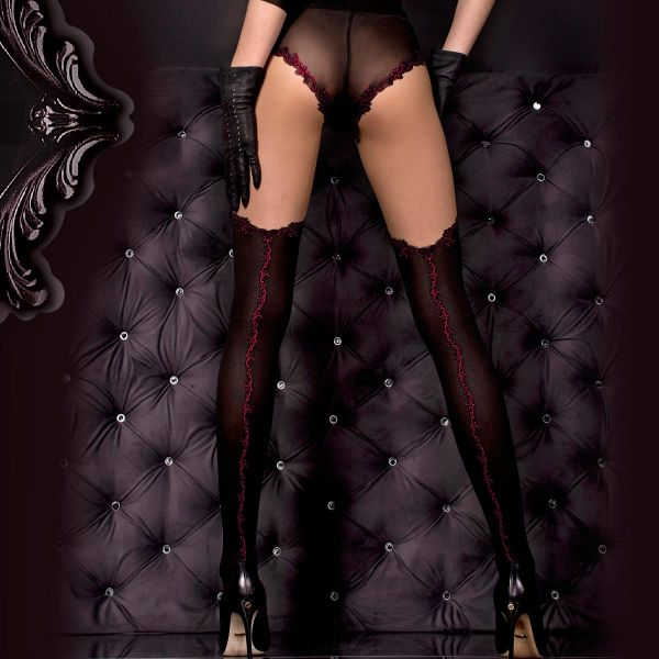 Strumpfhose im Panty und Stockings Look bordeaux
