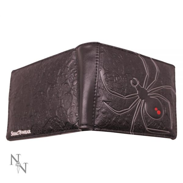Brieftasche in Lederoptik mit eingeprägter Spinne